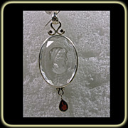 Sterling Pendant with  Reversed Carved Head of a  Grecian  Woman