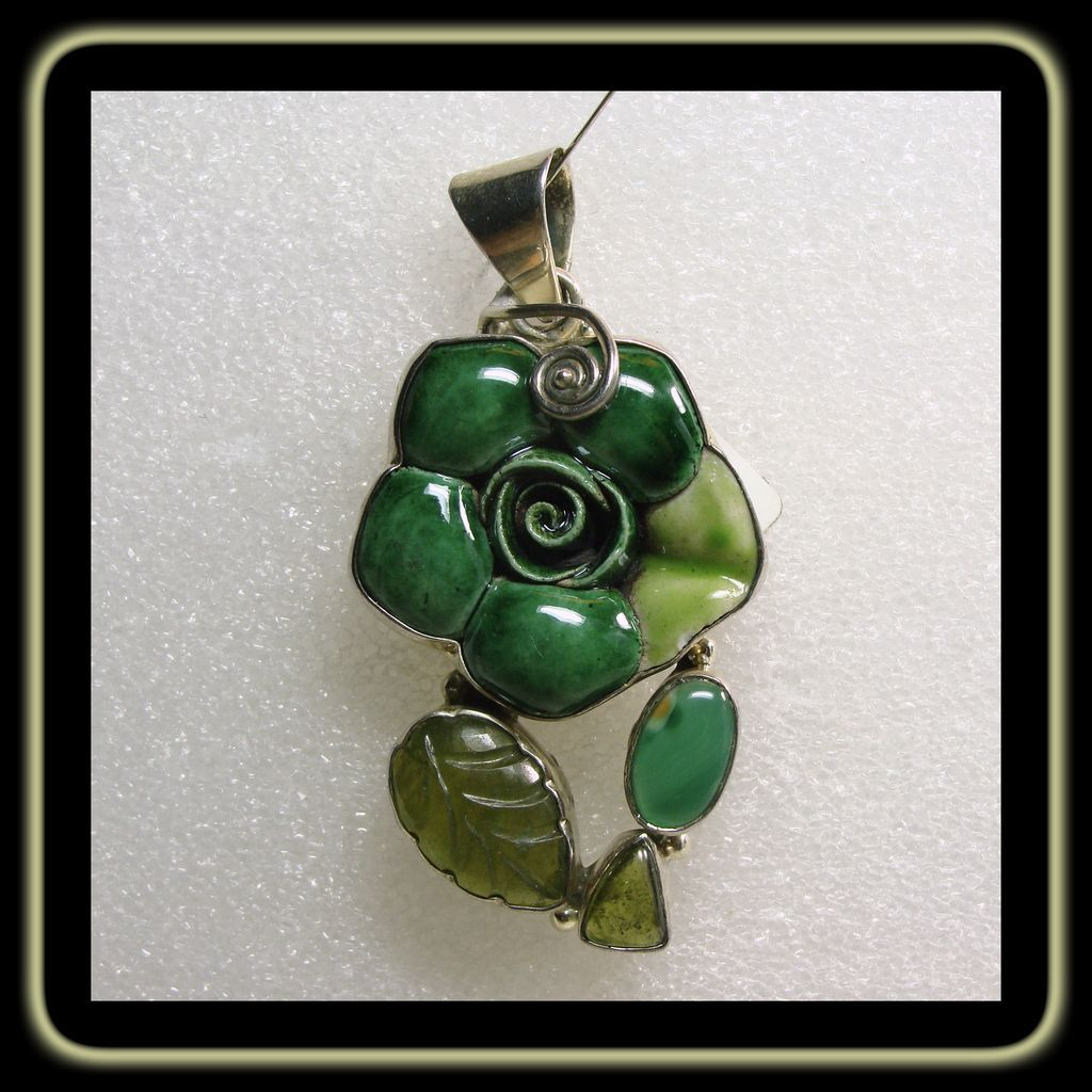 Sterling Silver  Pendant Clay Flower Pendant