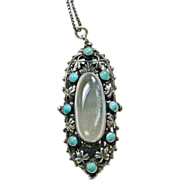Moonstone Sterling Silver with Turquoise Pendant on Silver Chain