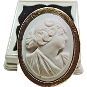 1919 Conch Shell Cameo of Diana in a Gold over Brass Setting