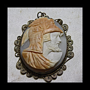 1920s Shell Cameo of Zeus set in  Silver Over Brass Filigree Setting