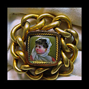 Early 1900s Set In Brass  Hand Painted Porcelain  Miniature
