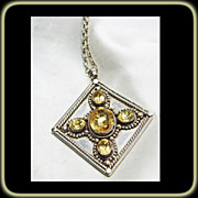 Sterling Silver and Citrine Pendant on Sterling Silver Chain