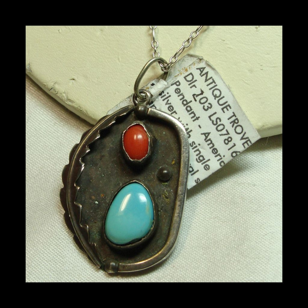 Shadowbox Pendent with Coral and Turquoise on a Sterling Chain