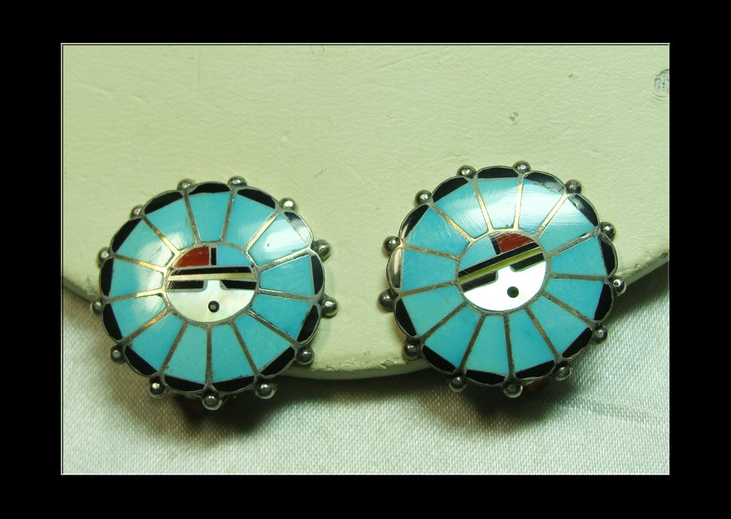 Sunface Inlay on Sterling Silver Earrings with Clips