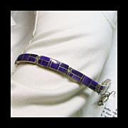 Link Style Bracelet- Sugilite Stone on Metal Inlay in Sterling