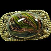 Large Venetian Glass Cabochon in Cut Brass Broach