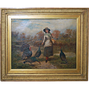 "Antique Large FreserickHendrick KAEMMERER ""Feeding Turkeys"""