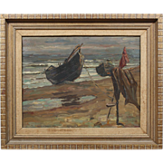 Ulrich W Fischer Listed TEXAS Artist Impressionist Beach Seascape Boat Painting