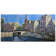 Vintage oil by John Linn of a Dutch Canal