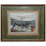 GABRIEL DAUCHOT-French Impressionst-Oil Painting-Parisian Waterfont Landscape