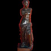 Antique Venus de Milo bronze, marked H. Luppens Redeztion Sauvage Bruselles.