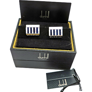 SALE Set of genuine Alfred Dunhill, 926 Sterling Silver with  Mother of Pearl and Blue Lapis lazuli inlay, Sterling Silver mounts. GENUINE ALFRED DUNHILL with original box.