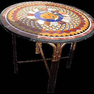 SALE Micro Mosaic Pietra Dura Round Table Top with Custom Bas