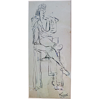 SALE Rose Kuper Pen and Ink drawing circa 1950s