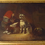 Old Man and Three Dogs 19th Century Oil Painting Genre Scene