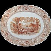 "Large Antique Brown Transferware Meat Platter 17.25"" Brown Westhead, Moore & Co."