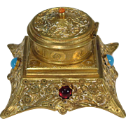 French Gilt Bronze Inkwell Stone Accents