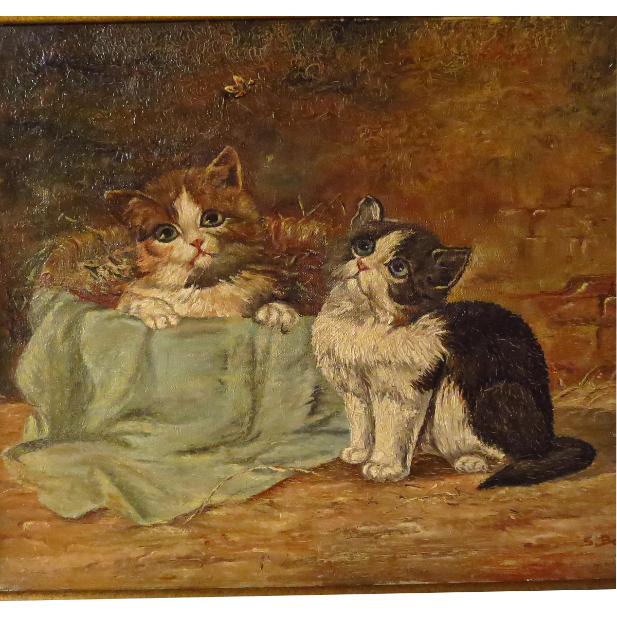 Two Kittens Antique Oil Painting Signed from ...