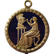 Antique French Bronze Enamel Medallion Medal