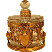 Antique French Pair Glass Perfume Scent Bottles in Ormolu Caddy