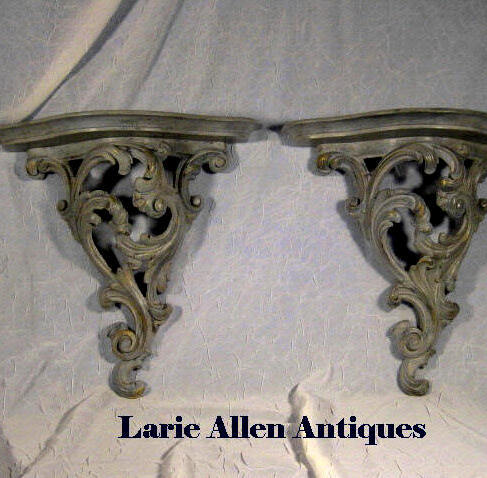 Pair Vintage Faux Painted Wall Brackets Shelves