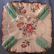 French Majolica Square Asparagus Plate Longchamp