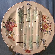 French Majolica Round Asparagus Plate Longchamp