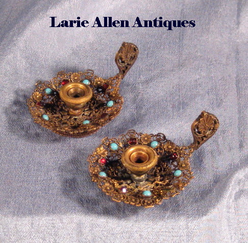 Rare Pair Czech Miniature Filigree Jeweled Candlesticks Holders