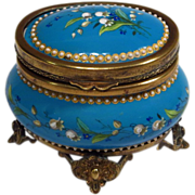Antique French Blue Enamel Jeweled Casket Box