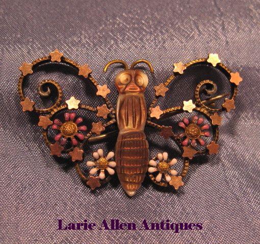 Victorian Butterfly Insect Pin Brooch MOP Enamel