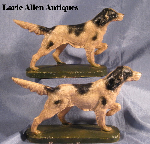 Pair Vintage Hubley Painted English Setter Pointer Dog Bookends