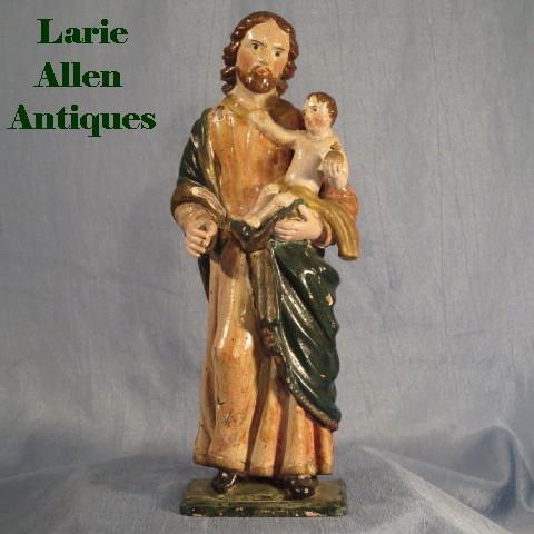 Antique St. Joseph Infant Christ Handcarved Santos