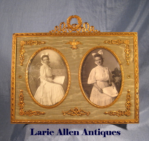 Antique French Dore Bronze Double Picture Frame