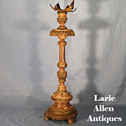 Antique Italian Carved Pricket Candlestick