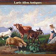 19th century Italian oil painting animals landscape scene Antonio Milone