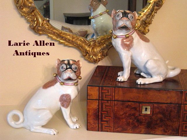 Large pair German dresden porcelain pugs Carl Thieme