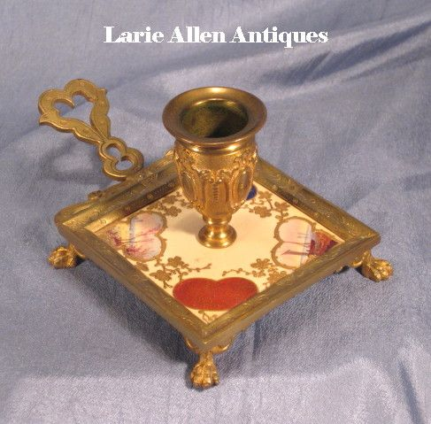 French Bronze Chamber Stick with Handpainted Tile