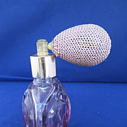 Vintage Light Amethyst Perfume Bottle With Atomizer