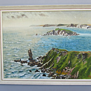Primitive Oil on Artist Board Seascape by Devon Artist Albert Hawkins - Dated April 1973
