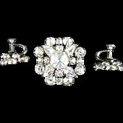 Vintage Clear Rhinestone Pin and Screw-Post Earrings, Austria
