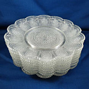 Set of 8 Pattern Glass Dessert Plates Similar to Thousand Eye Pattern