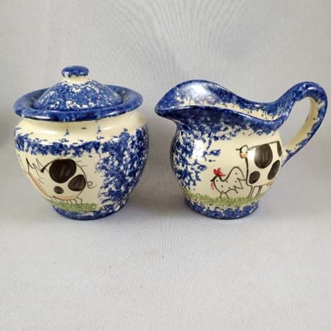 Sponge Ware Cream and Sugar with Rooster, Cow and Pig