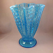 Fancy Opalescent Blue Fluted Vase