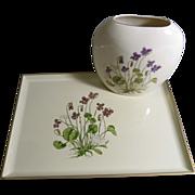 Otagiri Lacquerware Tray and Porcelain Pillow Vase/Violets