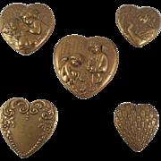 Vintage Gold/Bronze Tone Heart Shaped Art Nouveau Style Button Covers