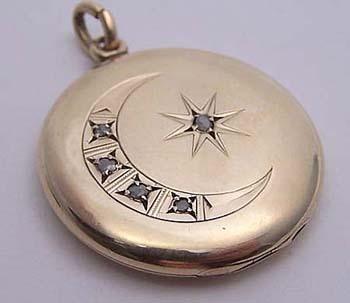Antique 10K Gold & Diamond Encrusted Crescent Moon Locket