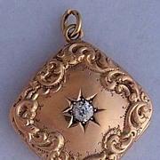 Victorian 14K Gold & .25 Carat OMC Diamond Locket