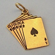 14K Gold Vintage Charm ~ Royal Flush Card Hand
