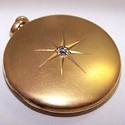 Edwardian 14K Gold & OMC Diamond Locket c1907